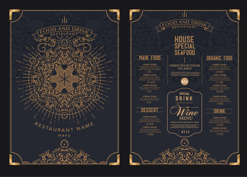 Luxury restaurant menu card vector