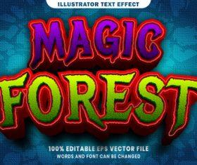 Magic forest 3d editable text style effect vector