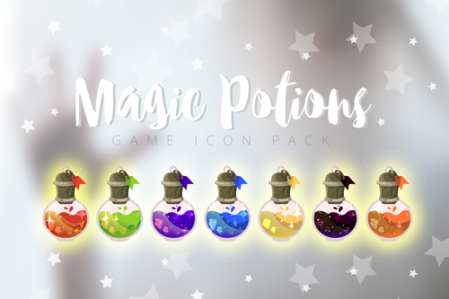 Magic potions game icon pack vector