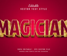 Magician text style effect vector