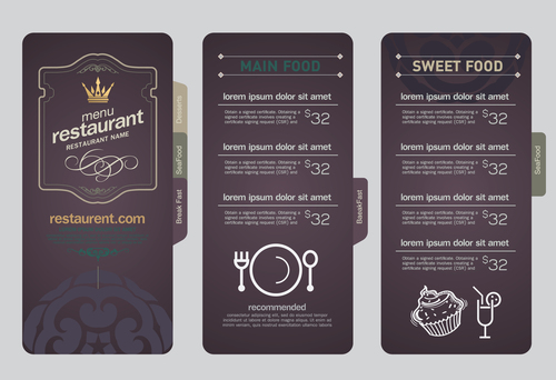 Main food menu card vector