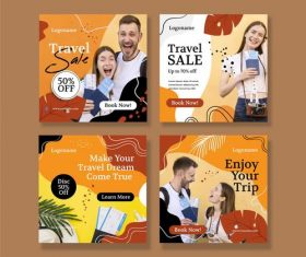 Make your travel dream come true poster design vector