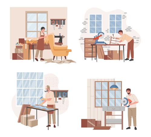 Making furniture cartoon illustration vector
