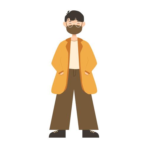Man wearing coat wearing mask vector