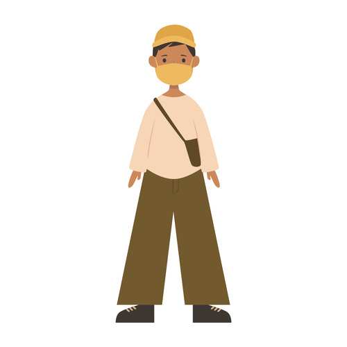 Man wearing hat and sling bag vector