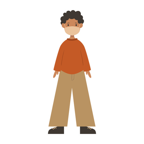 Man with curly hair wearing mask vector
