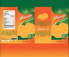 Mango juice packaging design vector