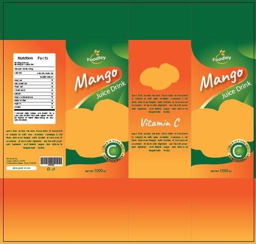 Mango juice packaging design vector