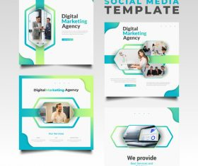 Marketing agency social media template vector