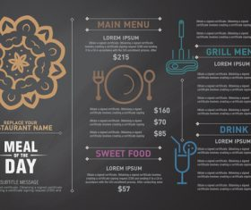 Meal of the day menu card vector