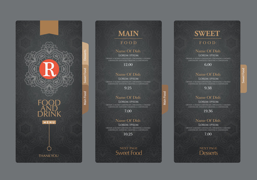 Menu card banner vector
