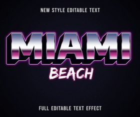 Miami beach editable text effect vector