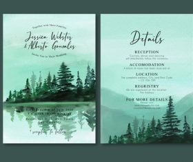 Misty mountains nature watercolor painting invitation card vector
