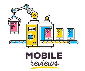 Mobile reviews concept vector