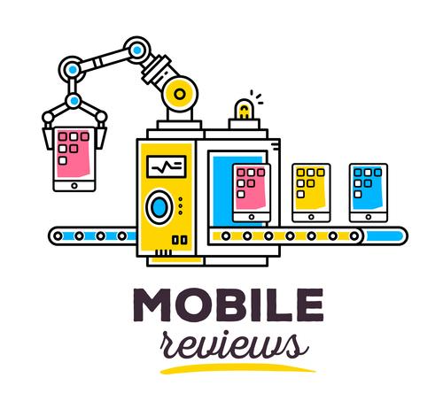 Mobile reviews concept vector