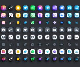 Modern round black web icons set vector