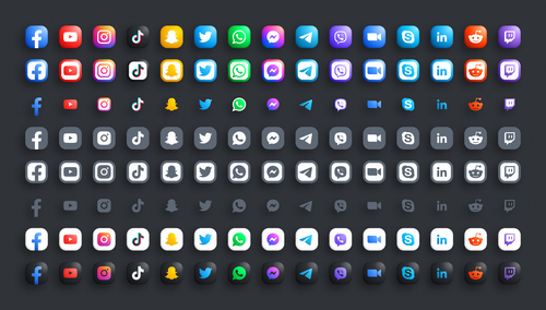 Modern round black web icons set vector