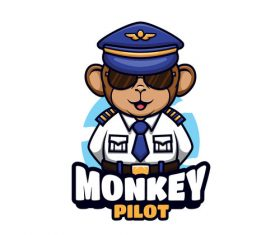 Monkey pilot cartoon vector
