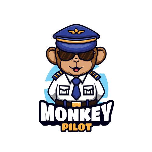 Monkey pilot cartoon vector