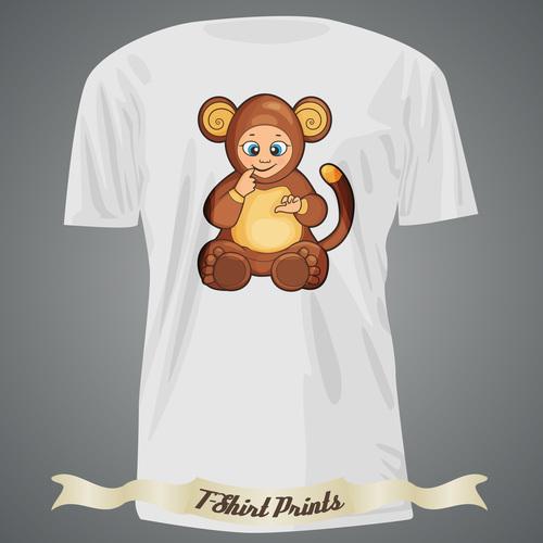Monkey t shirts prints design vector