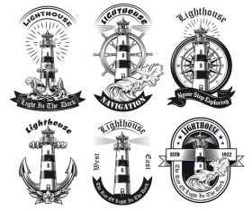 Monochrome emblems with lighthouse vector illustration set