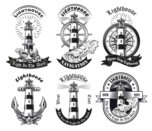 Monochrome emblems with lighthouse vector illustration set