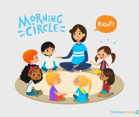 Morning circle cartoon illustration vector