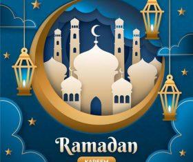Mosque silhouette Ramadan Kareem card vector