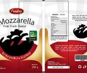 Mozzarella packaging design vector