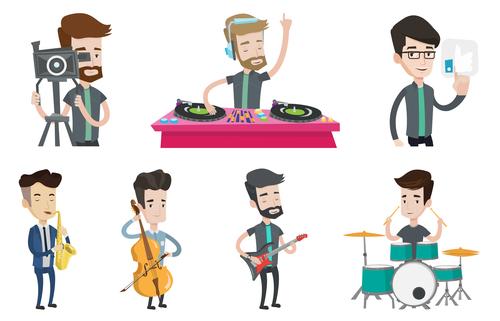Music man cartoon illustration vector