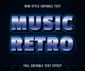 Music retro editable text effect vector