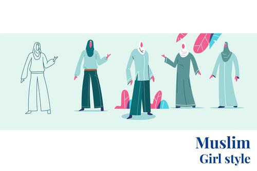 Muslim girl style vector