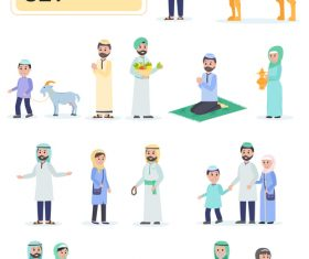 Muslims flat people characters vector