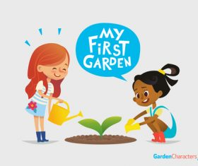 My first garden cartoon illustration vector