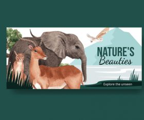 Natures beauties template billboard watercolor illustration vector