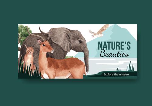 Natures beauties template billboard watercolor illustration vector