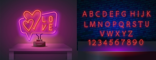 Neon style font background vector
