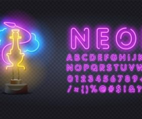 Neon style logo and font background vector