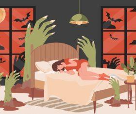 Nightmare cartoon illustration vector