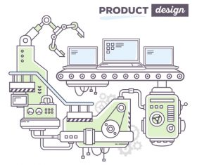 Notebook production business concept vector