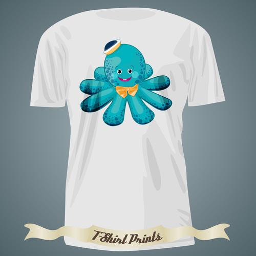Octopus t shirts prints design vector