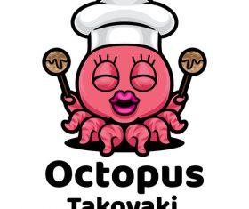 Octopus takoyaki mascot logo vector