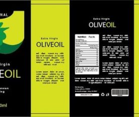 Olive oil packaging design vector