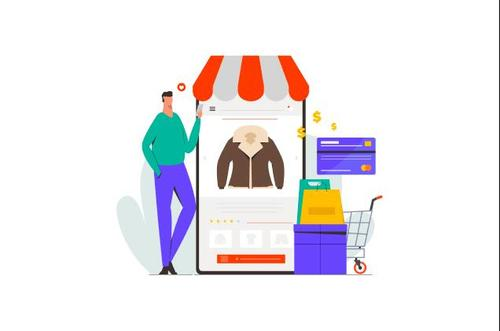 Online clothing store illustration vector