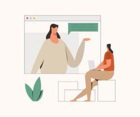 Online education illustration vector