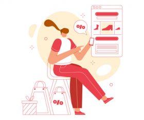 Online shop discount illustration vector
