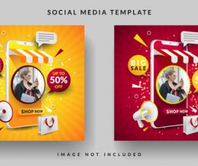 Online store social media template design vector