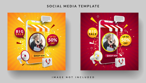 Online store social media template design vector