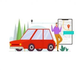 Online taxi driver illustration vector