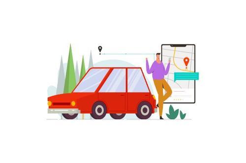 Online taxi driver illustration vector